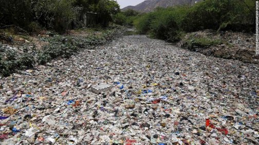plastic waste polluted river in India
